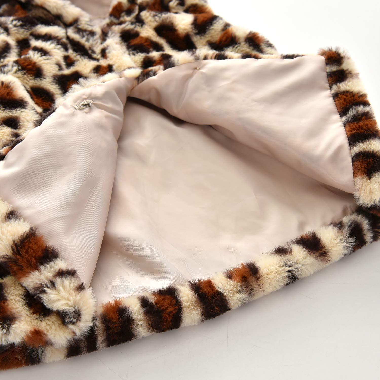 JEELLIGULAR Toddler Baby Girls Fur Vest Button Faux Fur Leopard Jacket with Hood Winter Warm Outwear