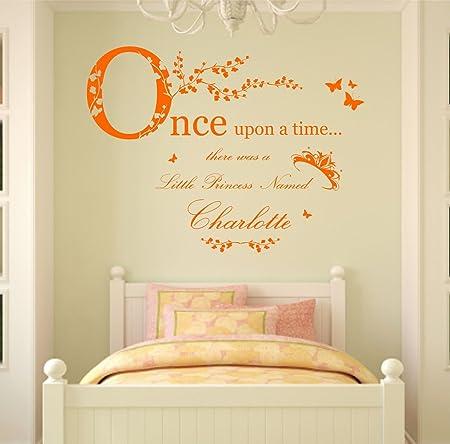 Personnalisé Once Upon a Time Princess Citation Autocollant Mural Filles chambres