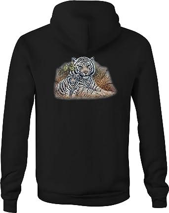 Zip Up Hoodie Tiger African Grass Hooded Sweatshirt for Men