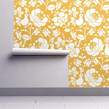 Peel And Stick Removable Wallpaper Butter Yellow Hungarian