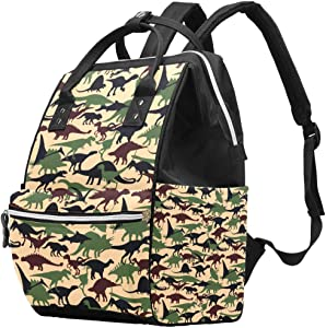 Dinosaurs Animal Vintage Camouflage Diaper Bag Laptop Backpacks Notebook Rucksack Travel Hiking Daypack for Women Men