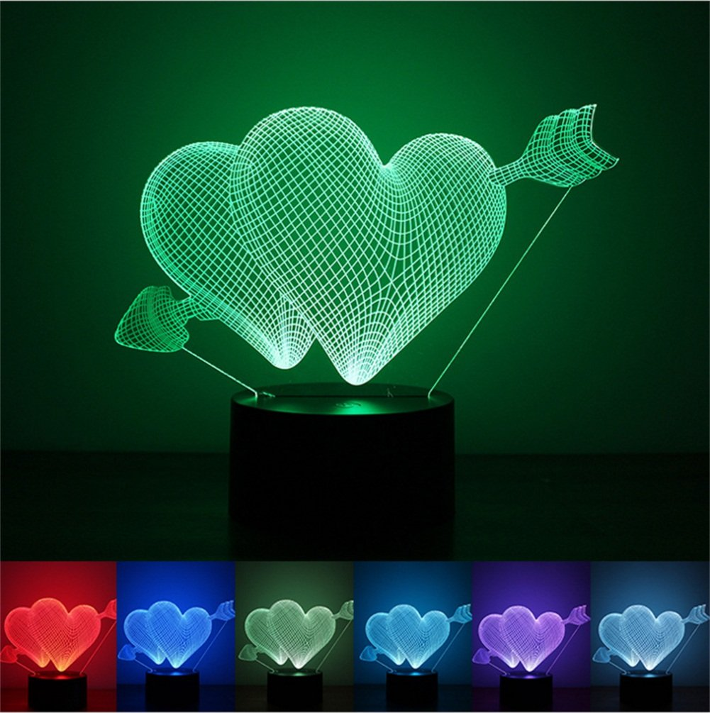7 Color Changing USB charge 3D HEART I LOVE YOU LED night light with 3D luminous Decor table lamp nightlight (Multi-colored)