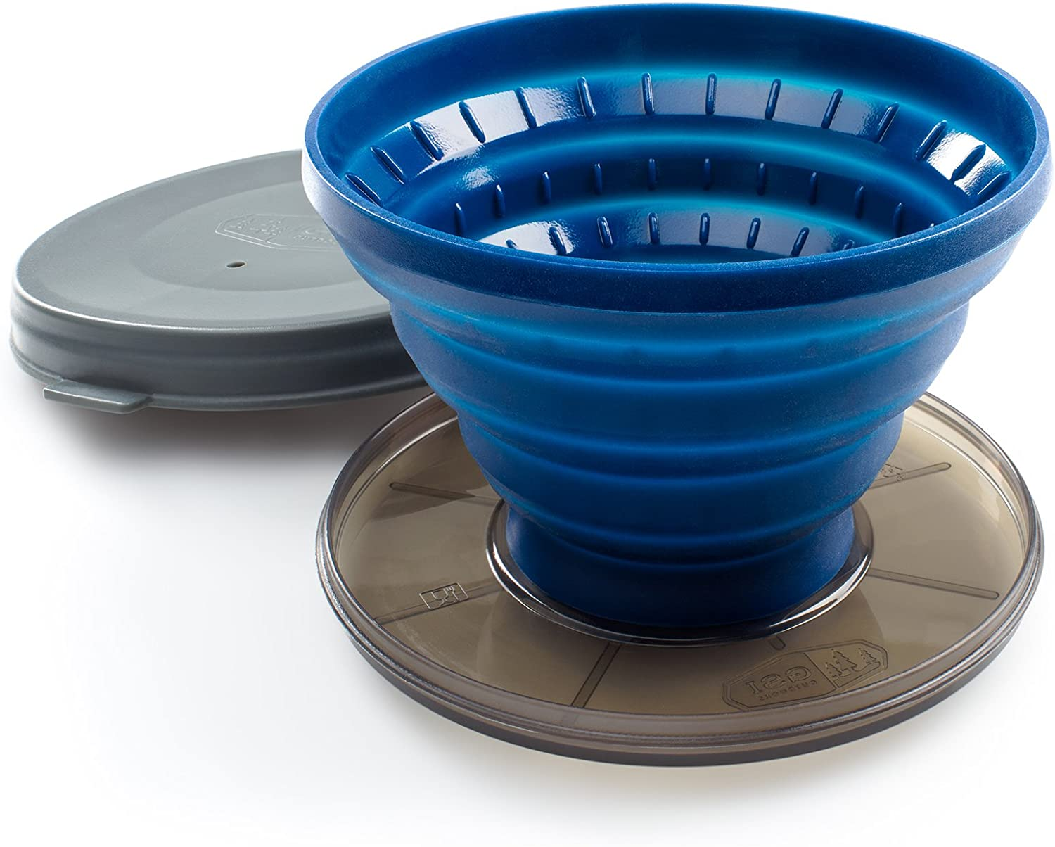 Image of a blue, collapsible coffee dripper with lid.
