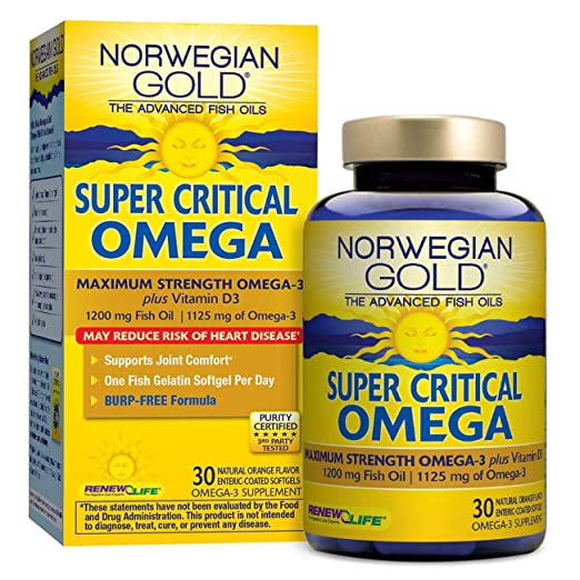 Amazon.com: Norwegian Gold - Super Critical Omega - Omega 3 supplement - 30 softgel capsules - Renew Life brand (Packaging May Vary): Health & Personal Care