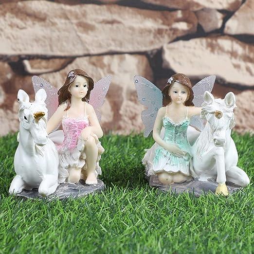 JUNIQUTE 2 juegos de figuras de unicornio para jardín de hadas, hermana de hadas, escultura ángel,