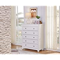 Hallam 5 Chest of Drawers/Tallboy in White Finish