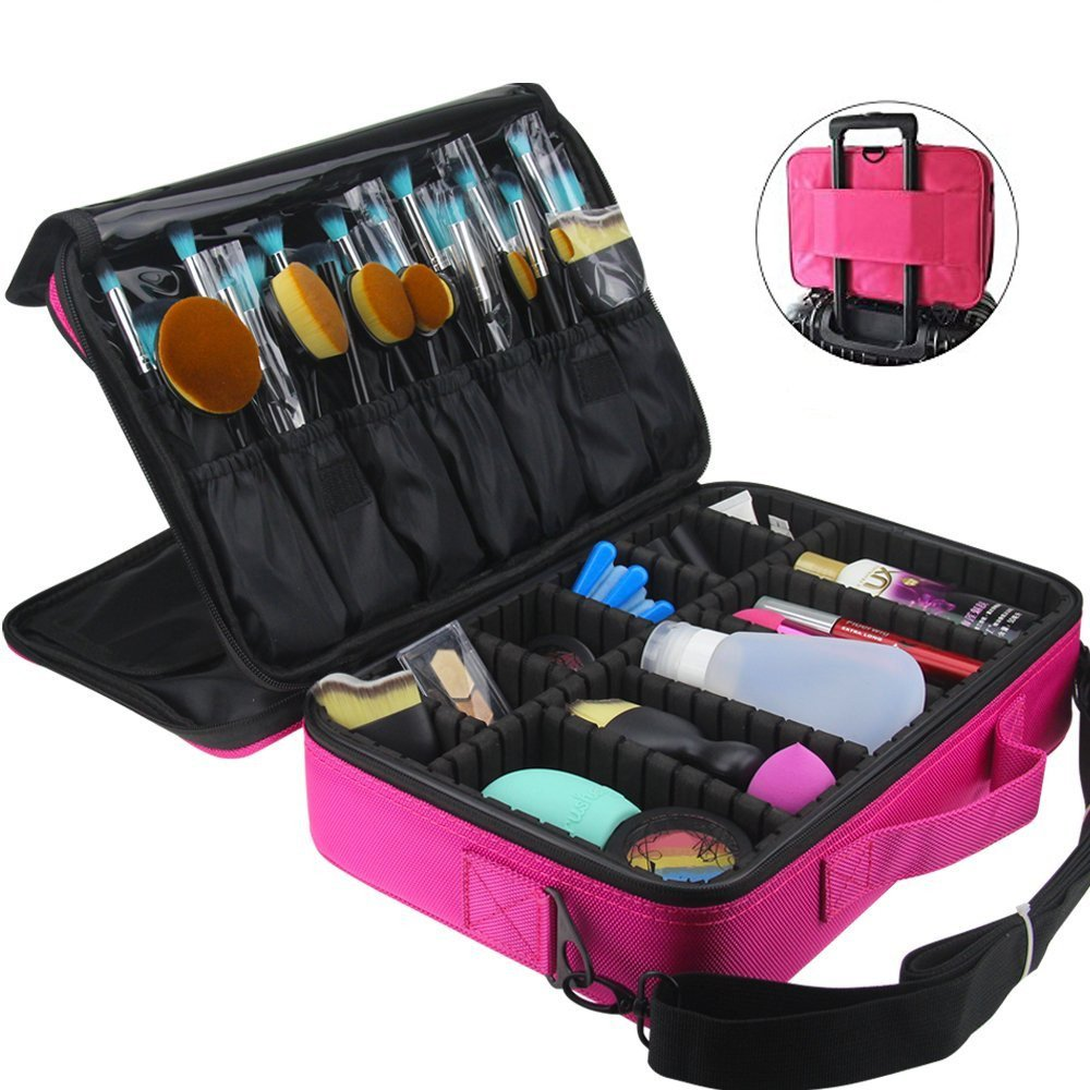 FLYMEI Professional Makeup Case 3 Layer Cosmetic Organizer 16'' Make Up Artist Storage with Shoulder Strap and Adjustable Divider, Pink