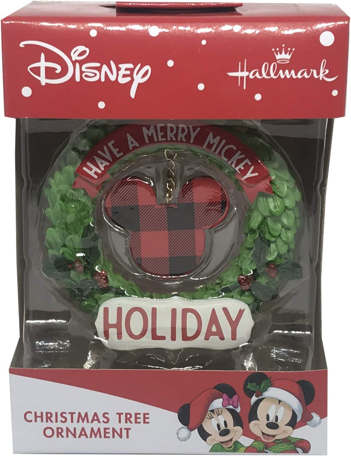 Disney Mickey Mouse Hallmark Christmas Ornament - 2019 Have a Merry Mickey Holiday Buffalo Plaid Wreath