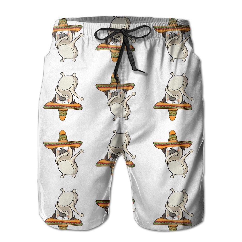 ZPEN Mens Dabbing Pug Hat Pants Summer Beach Board Shorts Novelty Surf Swim Trunks by ZPEN