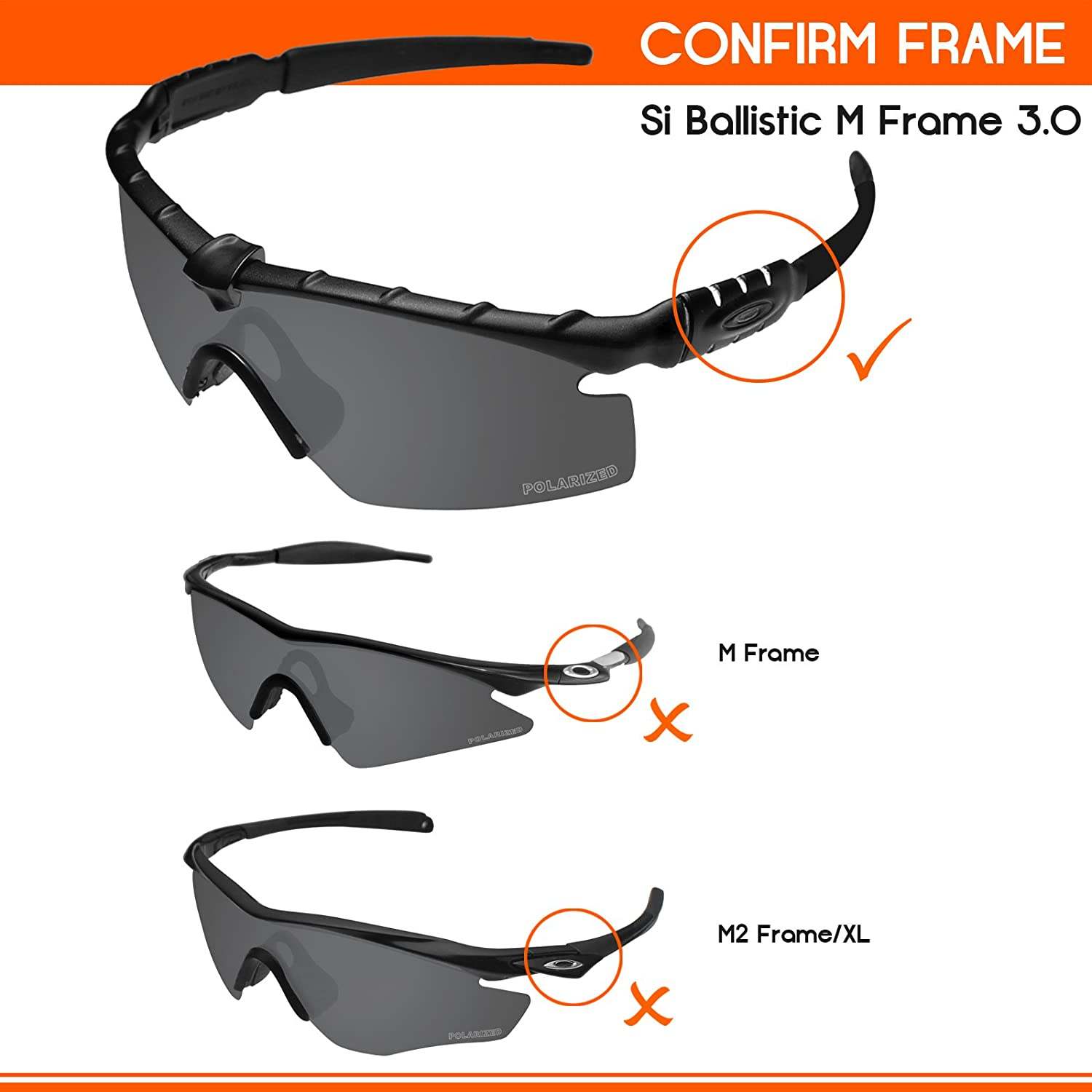 d6d19aa3c5 Amazon.com  Tintart Performance Lenses Compatible with Oakley Si Ballistic  M Frame 3.0 Polarized Etched-Carbon Black  Clothing