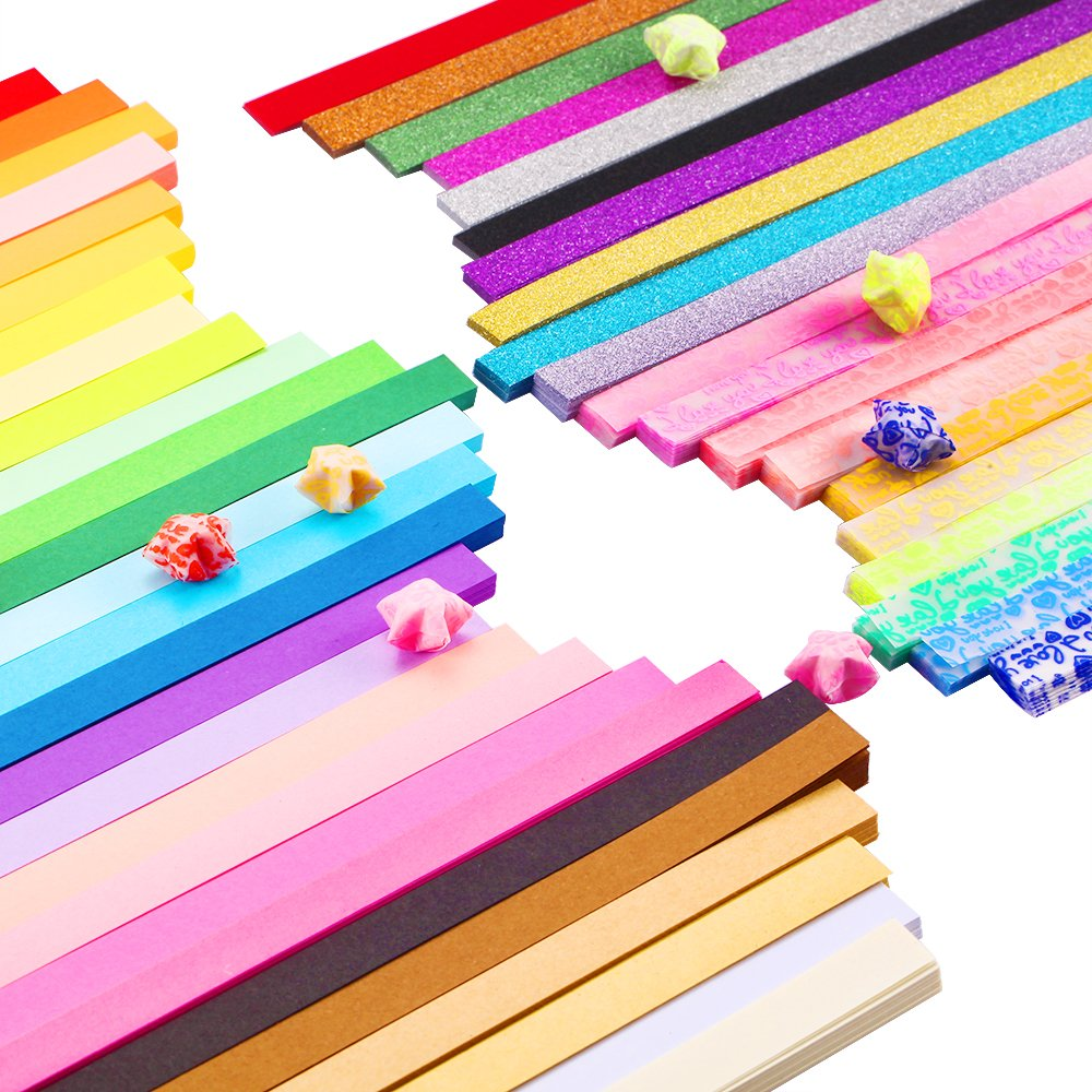 Caydo 1850 Sheets 3 Styles 47 Colors Origami Stars Paper Double Sided and Luminous and Glitter Paper Set by Caydo