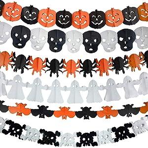 6Pcs Precious Halloween Paper Chain Garland Decoration Prop Pumpkin Bat Ghost Spider Skull Shape OH