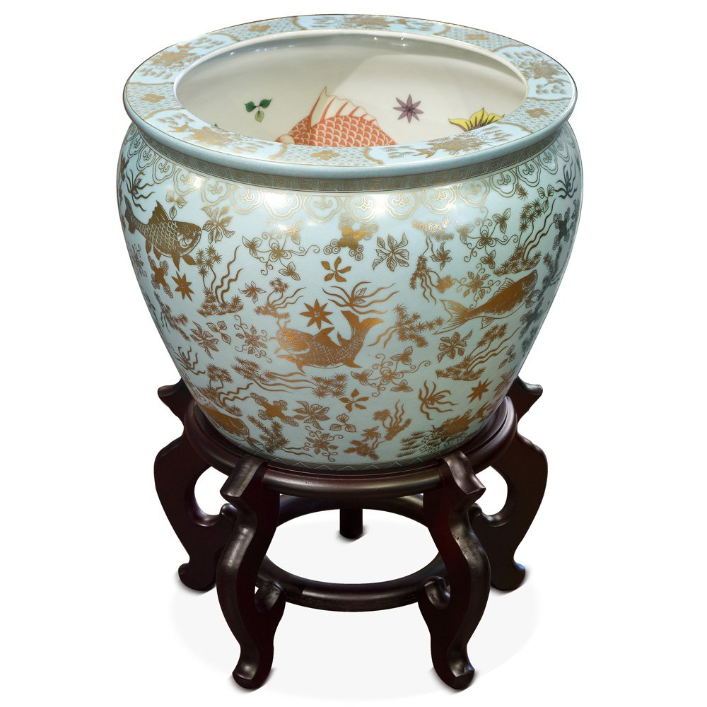 China Furniture Online Porcelain Fishbowl Planter, 12 inch Koi Design by ChinaFurnitureOnline