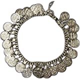 Uma Indian Traditional Belly Dance Ghungroo Silver-Toned Coin Anklet