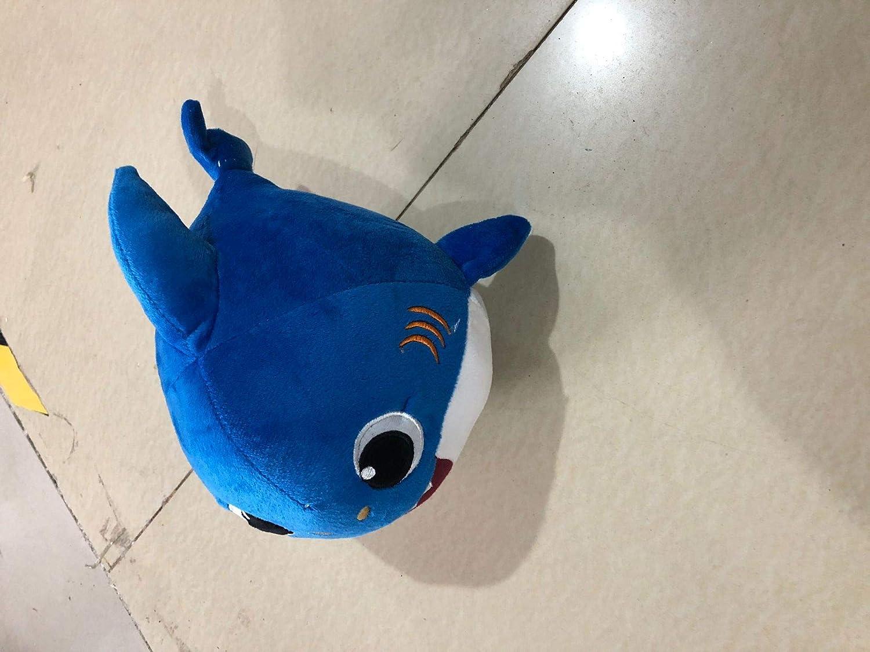 Blue SHENGWQ Baby Shark Canto y Luz Juguetes de Peluche Mu/ñeca de Felpa Suave de Tibur/ón Regalos y Juguetes para Ni/ños Beb/é de Dibujos Animados de Tibur/ón de Peluche de Juguete con 3 Colores