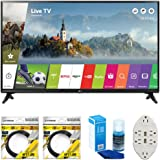 "LG 43"" Class Full HD 1080p Smart LED TV 2017 Model (43LJ5500) with 2x 6ft High Speed HDMI Cable, Screen Cleaner for LED TVs & Transformer Tap USB w/ 6-Outlet Wall Adapter and 2 Ports"