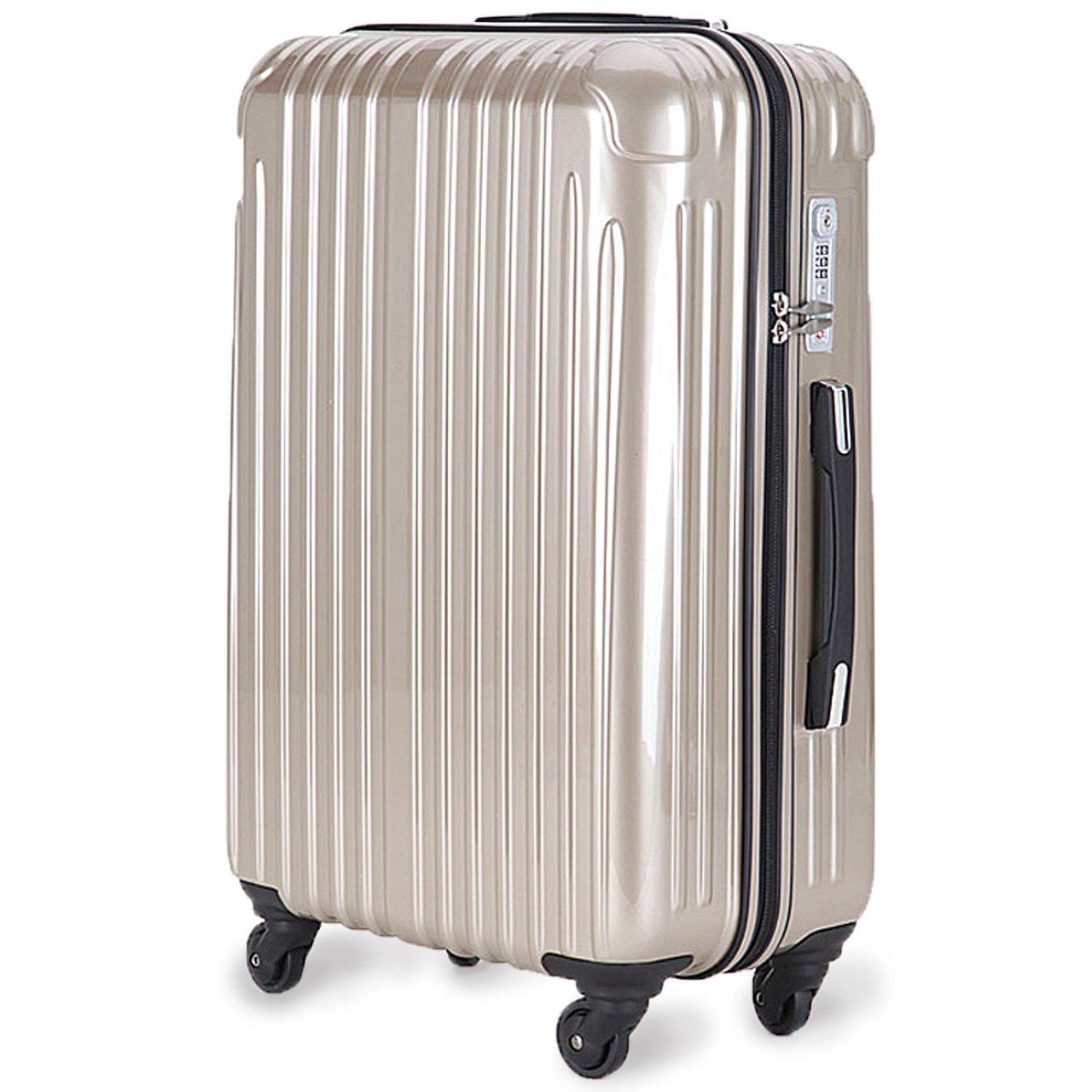 strike[ストライク]超軽量 2年保証 スーツケース TSAロック搭載 旅行バック トランクケース 旅行カバン B071NLMX5H 大型Lサイズ(長期滞在)|シャンパンゴールド シャンパンゴールド 大型Lサイズ(長期滞在)