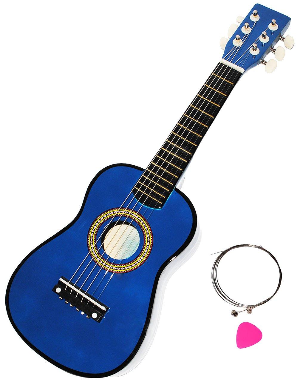alles-meine.de GmbH Gitarre aus Holz - Konzertgitarre - Klassik - BLAU - incl. Name - akustische - Kindergitarre - mit Plektrum & 6 Stück Ersatzsaiten - für Kinder - Spielzeu..