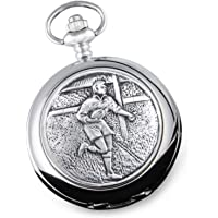 De Walden Boy's Graduation Gift, Engraved Men's Mother of Pearl Pocket Watch with Pewter Rugby Player Case in a Gift Box