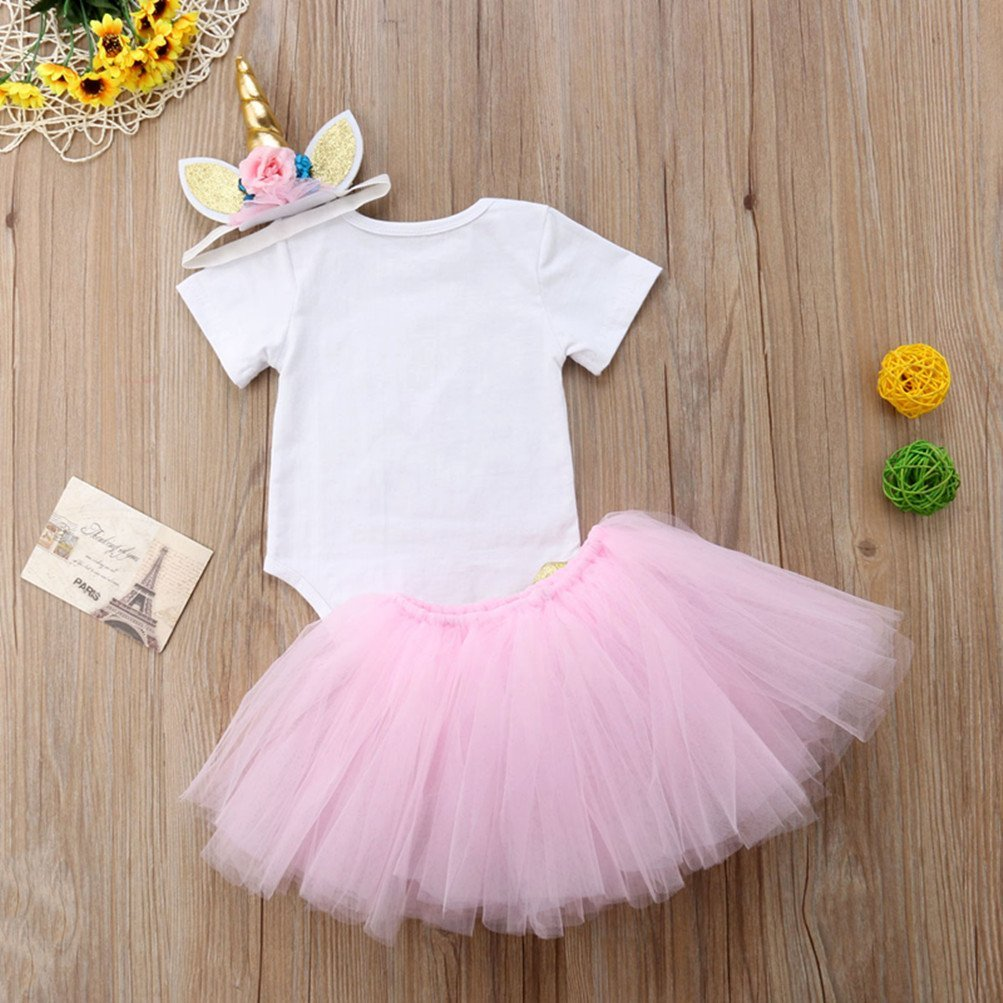 3Pcs Unicorn 1st Birthday Girl Outfit Newborn Baby One Romper Bodysuit Tops+Tutu Skirt Dress+Headbands Clothes Set