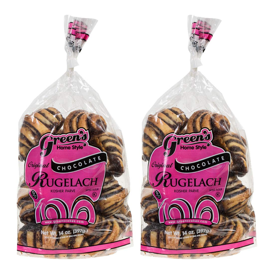 Green's Bakery Chocolate Rugelach Kosher Pastry, 14 oz - 2 Pack