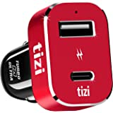 NEW equinux tizi Turbolader 2x ULTRA 42W (monza red edition), high powered in-car charger with USB-C + USB-A ports (max. 42W). 30W USB-C PD specially optimized for Apple devices. Apple-compatible USB-C charger with Power Delivery, supports fast-charge for iPhone X, iPhone 8, iPad Pro, MacBook and MacBook Pro (from 2016) in the car.