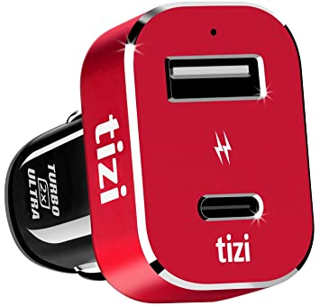 equinux New Tizi Turbolader 2X Ultra 42W, High Powered Car Charger with USB- C
