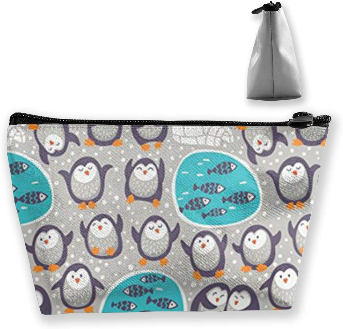 Qzjoker11233 Snow Funny Penguins Makeup Bag for Purse Travel Makeup Pouch Mini Cosmetic Bag for Women Girls