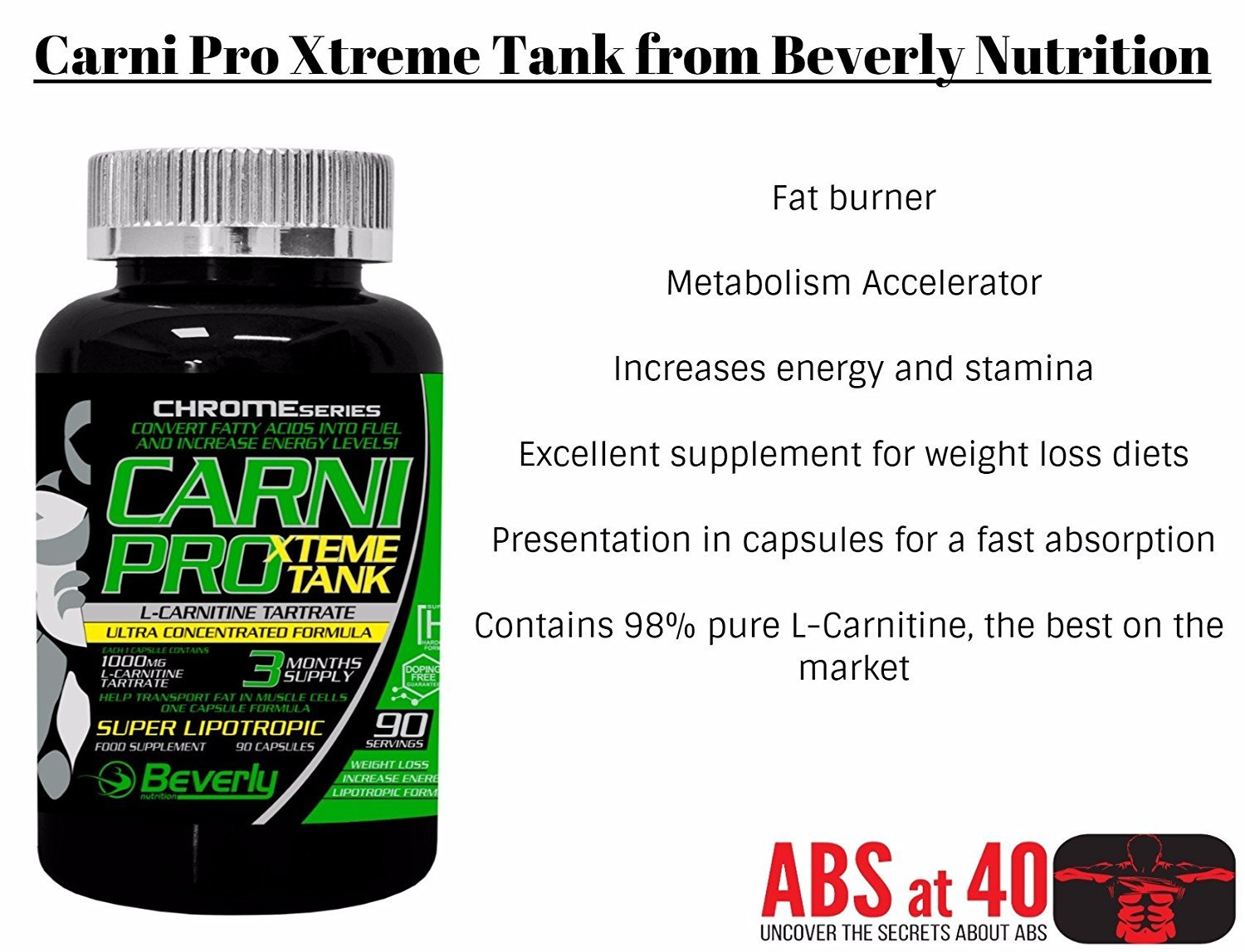 Amazon.com: Beverly Nutrition Exclusive For ABSat40 Carni Pro Xtreme Tank - highly effective energizer and fat burner - Metabolism Accelerator - Contains ...