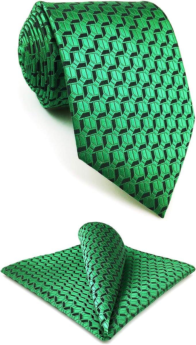 S&W SHLAX&WING Mens Ties Necktie Set Dark Green Extra Long