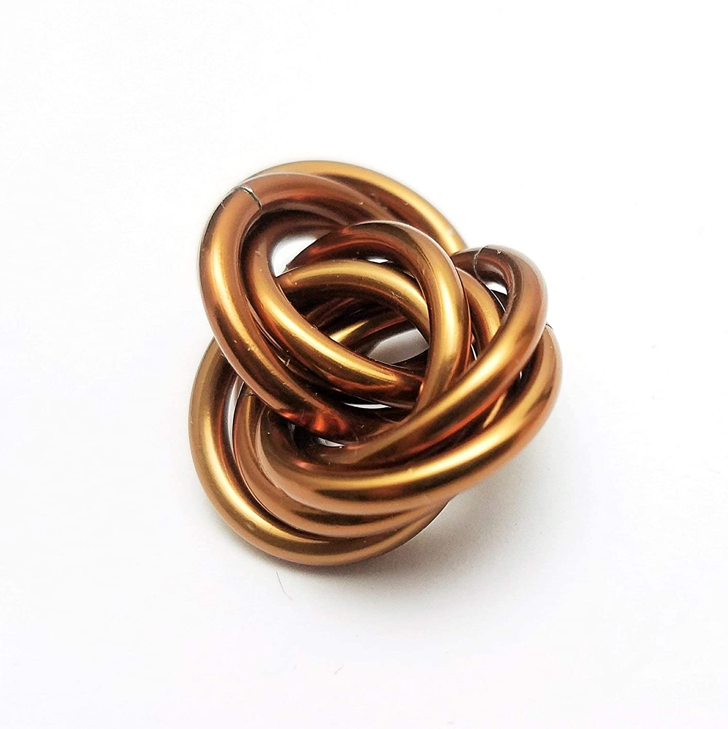 Half M/öbii Caramel Office Toy Small Mobius Hand Fidget Toy Shiny Stress Rings for Restless Hands