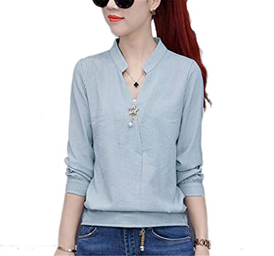 6fdeff57b316e OUXIANGJU New Women Spring Work Wear Shirts Ladies V-Neck Long Sleeve Tops  Casual Striped Blouses at Amazon Women's Clothing store: