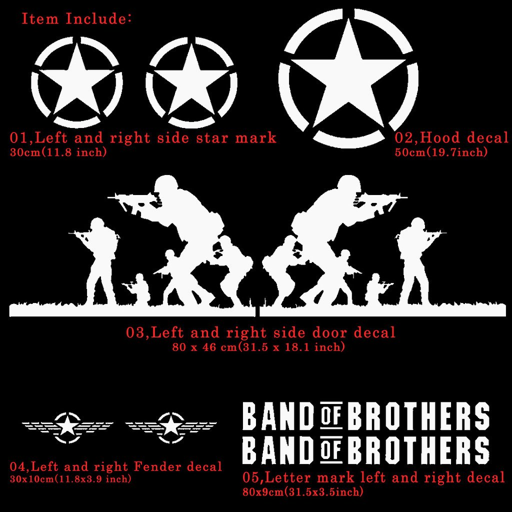Kaizen band of brothers vinyl sticker side skirt decal whole body graphic decal for jeep wrangler and any motorcycle suv truck or sedan car color white