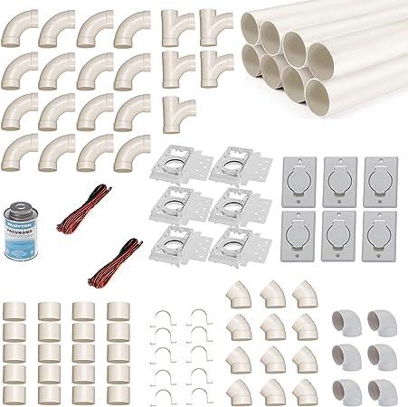 Kit de montaje de aspirador central para 6 tubos de aspiración con tubos, accesorios y similares.