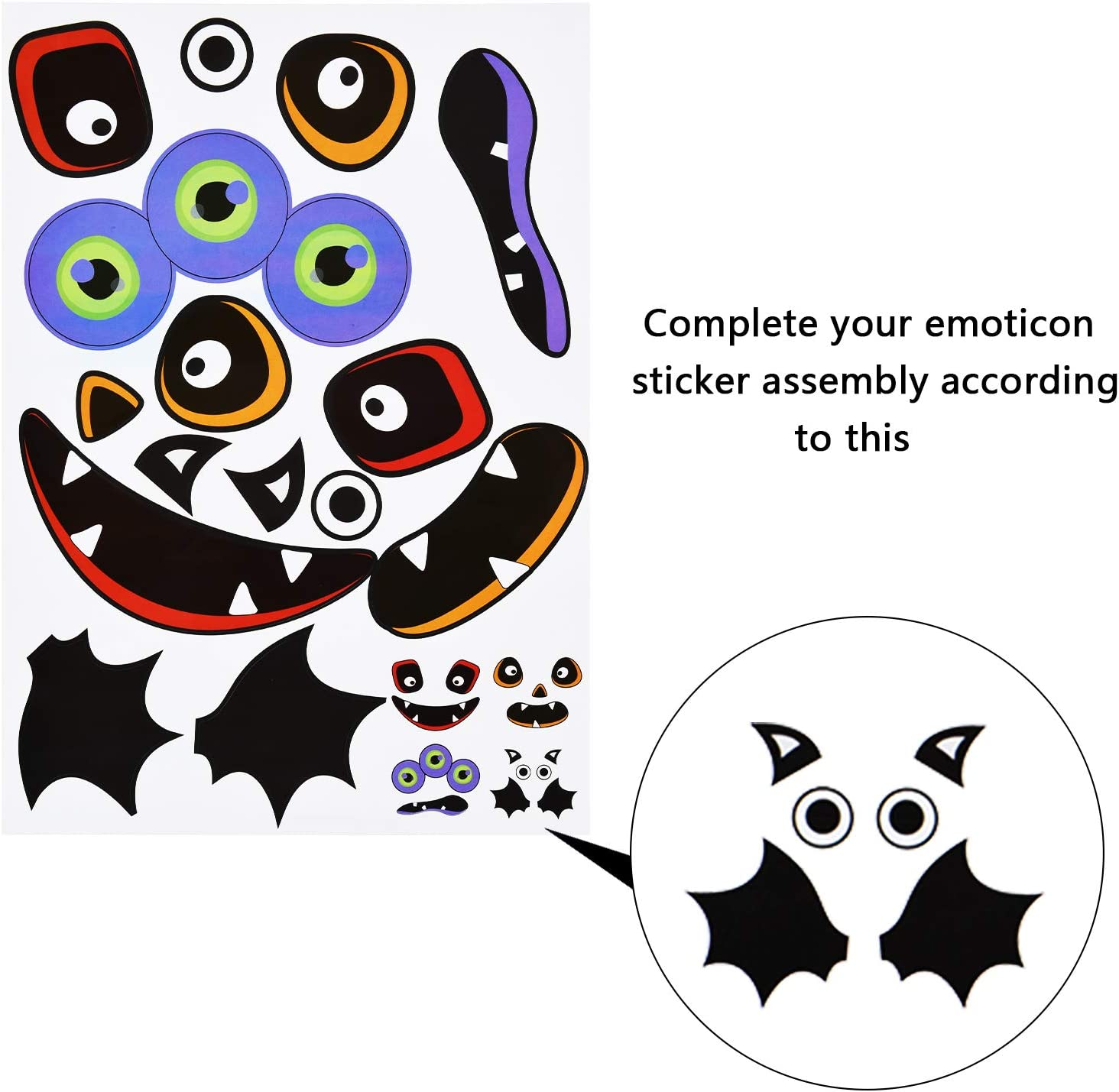 Outus 48 Pieces Pumpkin Stickers Halloween Pumpkin Decoration Stickers Craft Stickers for Halloween Party Decoration Favors
