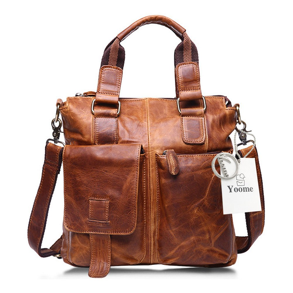 Yoome Men's Crazy Horse Leather Business Bag Work Tote Laptop Briefcase Messenger Bag Shoulder Bag YooM014-Chocolate Brown