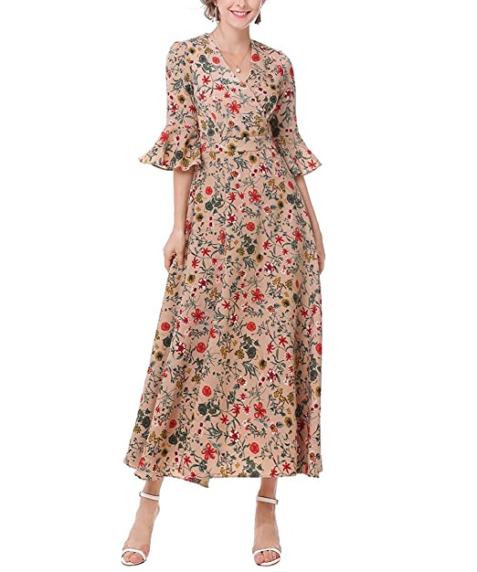 1960s Dresses | 60s Dresses Mod, Mini, Jakie O, Hippie UK-  Vintage Dresses Floral Maxi Dress Flare Sleeve 1930s Dress Cocktail £19.98 AT vintagedancer.com