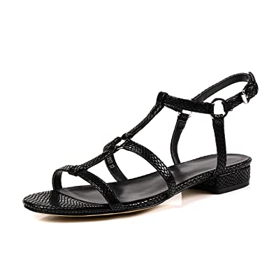 53865a441de2 Pailan Black Women Open Toe Comfy Low Heels Buckle Strappy Sandals Shoes 6  (B)