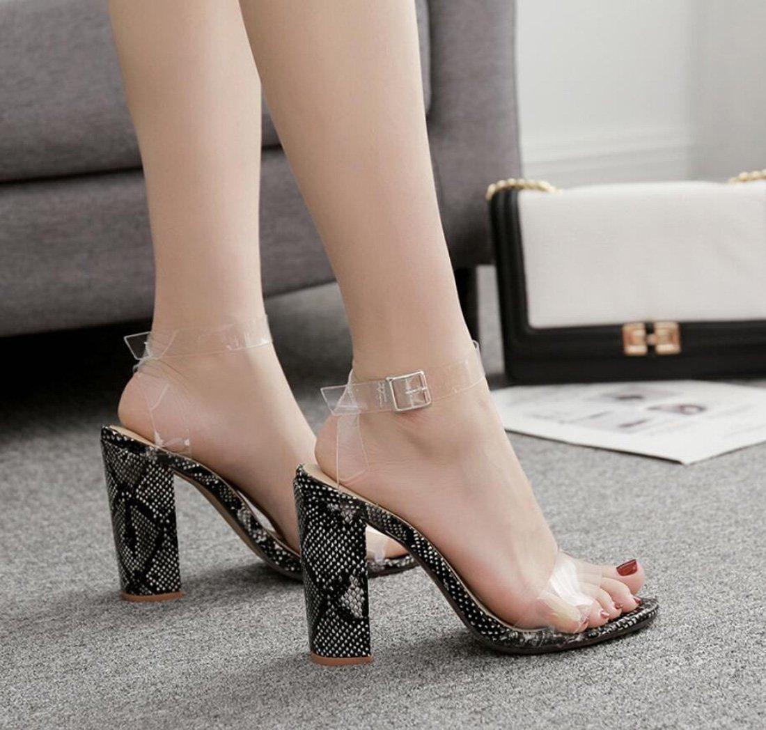 DANDANJIE Damenschuhe Sandalen Sommer Sexy Transparente Sandalen Damenschuhe Offene Spitze Dick mit High Heel Damen Schuhe (Farbe : Ein, Größe : 39 EU) Ein 696fbd