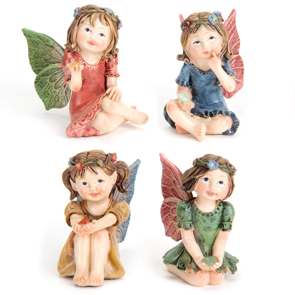 Bits and Pieces - Set of Four Adorable Hand Painted Winged Fairies with Gems - Made of Durable Polyresin to Make Perfect Garden Statues