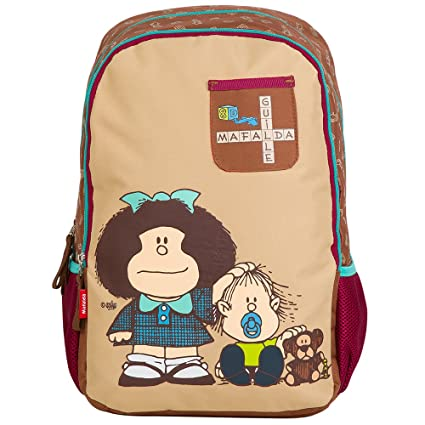d2985797835ebd Chenson Mochila Escolar Juvenil Femenino Color café con Beige Linea Mafalda