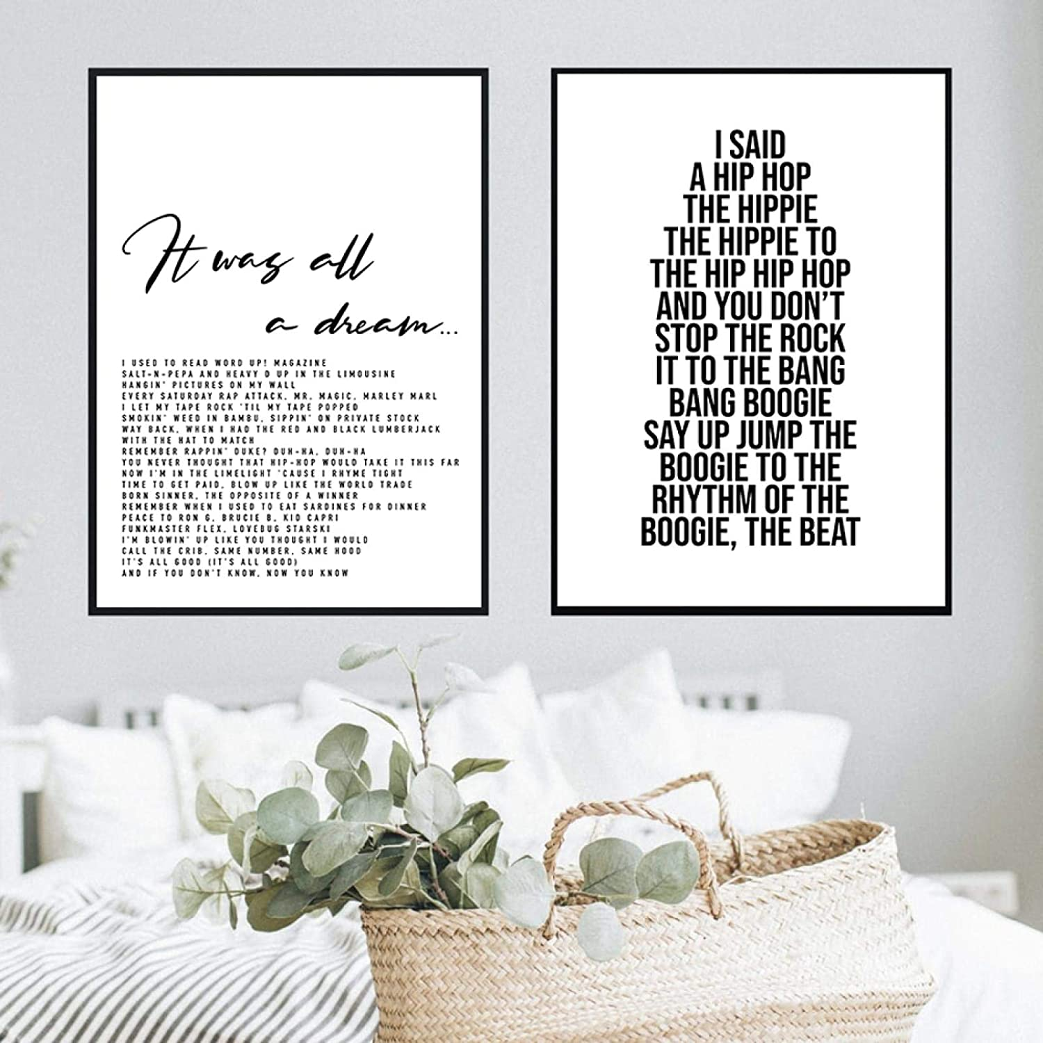 ThinkingPower Posters and Prints Picture Wall Art Hip Hop Poster Rapper Delight Lyrics Music Quote Large for Living Room Home Decor (30x50cm) 2pcs Frameless