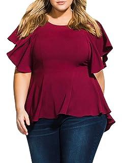 5cad6634fe9 D Jill Women s Plus Size Tops Casual Ruffle Short Sleeve Scoop Neck Tunic  Shirt Peplum Blouse