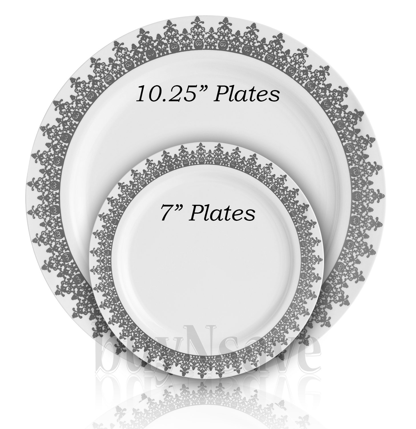 "buyNsave White with Silevr Heavyweight Plastic Elegant Disposable Plates, Wedding Party Elegant Dinnerware, Ornament Collection (35, 7"" Dessert Salad Plates)"