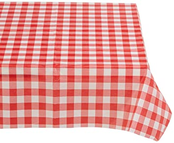 Red And White Vinyl Table Cloth With Flannel Backing By Pudgy Pedrou0027s Party  Supplies