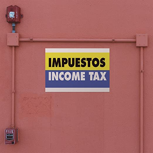Set of 10 Decal Sticker Multiple Sizes Impuestos Income Tax Business Tax Outdoor Store Sign Yellow 14inx10in
