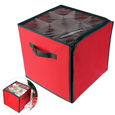 NICEXMAS Christmas Ornament Storage Box With 27 Compartments