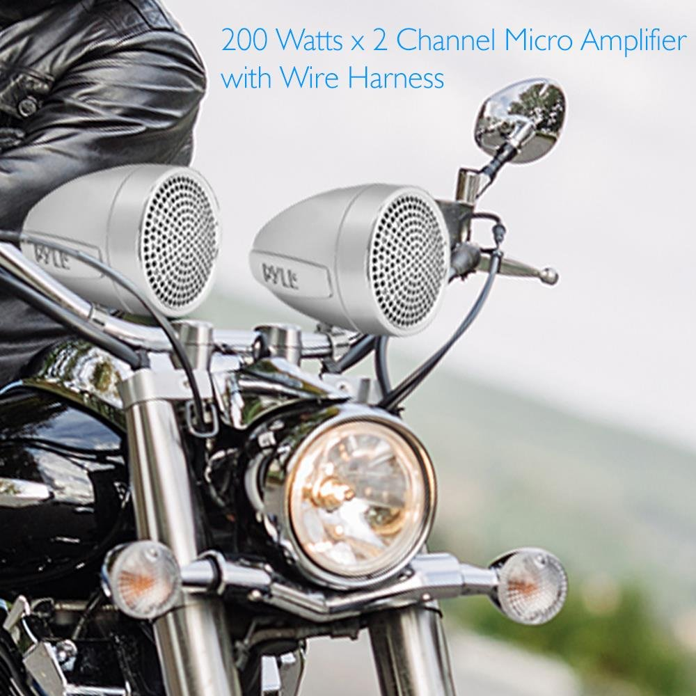 Also for Marine Boat AUX IN- Handlebar Mount ATV Mini Stereo Audio Receiver Kit Set Pyle 300 Watt Weatherproof Motorcycle Speaker and Amplifier System w// Two 2.25 Inch Waterproof Speakers PLMCA60 Sound Around