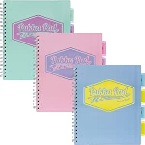Pukka Pad 5-Subject Divider Notebook, 11 x 8-1/2 inch 3-Pack, 100 80 GSM Wgt. Sheets, 1 Blue, 1 Pink, 1 Teal