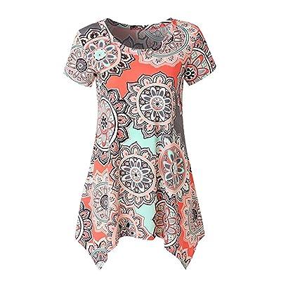 AmanGaGa Shirt Femmes Casual Imprimer Style Bohème À Manches Courtes T-Shirts D'été Haut Col Rond Blouses Classiques Tops Ourlet Irrégulier